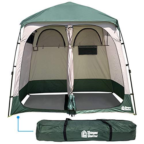 EasyGo Product Shower Shelter - Giant Portable Outdoor Pop UP Camping Shower Tent Enclosure - Changing Room - 2 Rooms - Instant Tent - 7.5 ' Tall X 4' Deep X 7.5' Wide