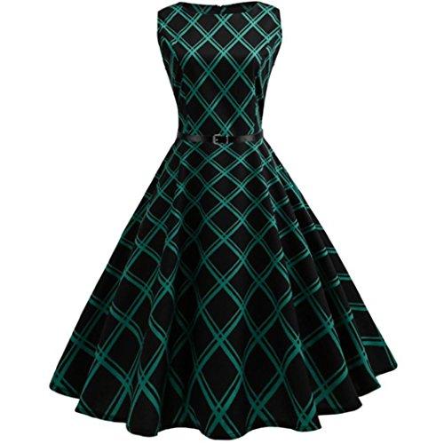 Ankola Prom Dresses, Women's Boat Neck Sleeveless Vintage A-Line Plaid Cocktail Dress (Green, (Green Plaid Jumper)