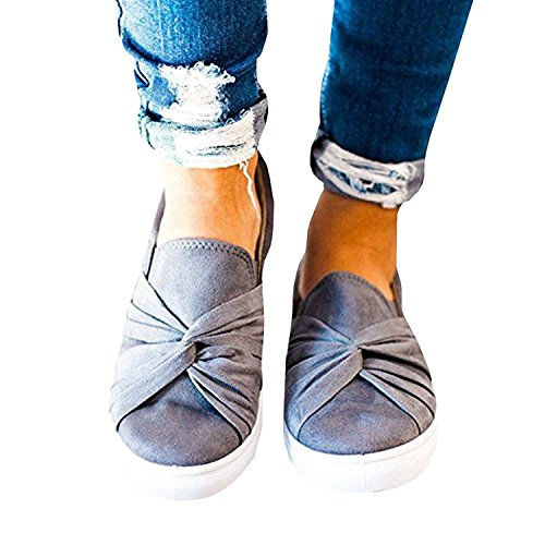 Umeko Womens Slip on Shoes Top Knot Sneakers Wide Comfortble Fashion Sneaker (10.5 B(M) US, Grey)