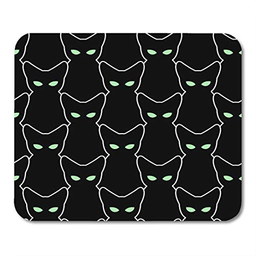 SYMSPAD White Outline Black Cat for Halloween The of Pets Retro Many Silhouettes with Green Eyes Abstract Mousepad 8.6 X 7.1 in -