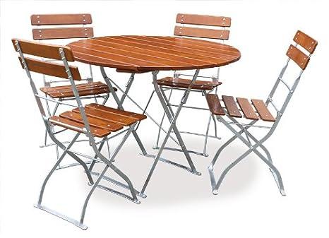 EuroLiving - Mobiliario para jardín (1 mesa, 100 cm, 4 sillas ...