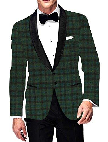 INMONARCH Mens Green Checks Blazer Summer Style SB15612 by INMONARCH