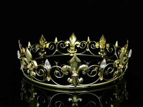 (Men's Full King's Crown for Theather Prom Party - Clear Crystals Gold Plating)