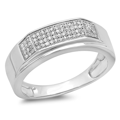 0.20 Carat (ctw) Sterling Silver Round White Diamond Men's Micro Pave Hip Hop Wedding Band by DazzlingRock Collection