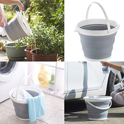 (10L Premium Collapsible Bucket Strong Flexible Compact BPA Free Portable Folding Water Container Space Saving Bucket for Washing Dishes Camping Hiking Home)