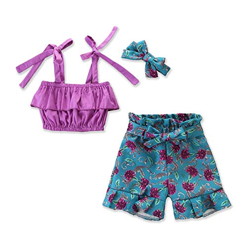 (Toddler Girls Summer Short Set Halter Ruffle Top+Floral Pants+Headband Summer Clothes Outfit(Purple Top+Floral Pants, 5-6T))
