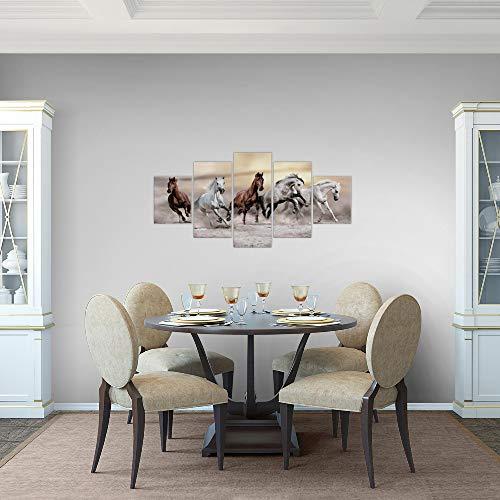 Bilder-Pferde-Wandbild-100-x-50-cm-Vlies-Leinwand-Bild-XXL-Format-Wandbilder-Wohnzimmer-Wohnung-Deko-Kunstdrucke-Braun-5-Teilig-MADE-IN-GERMANY-Fertig-zum-Aufhngen-014152a