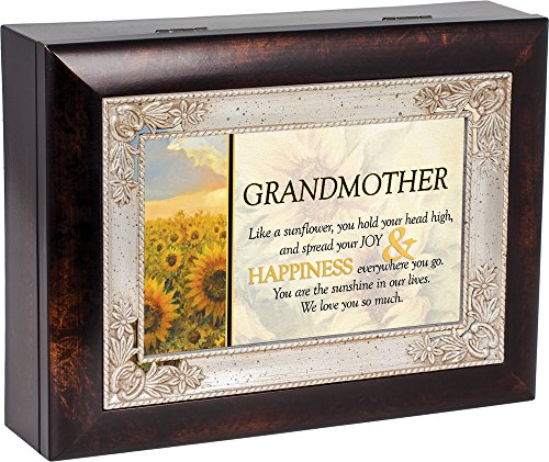 Grandmother Dark Wood Finish Jewelry Music Box Plays Tune You Are My Sunshine