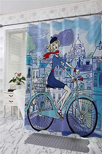 homecoco Paris Bathtub Splash Guard Young Woman with French Hat and Funny Cat on Bicycle in Paris Street Watercolor Shower Curtain Rustic Multicolor W72 x L96