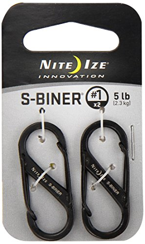 Price comparison product image Nite Ize Size-1 S-Biner Dual Spring Gate Carabiner, Black, 2-Pack