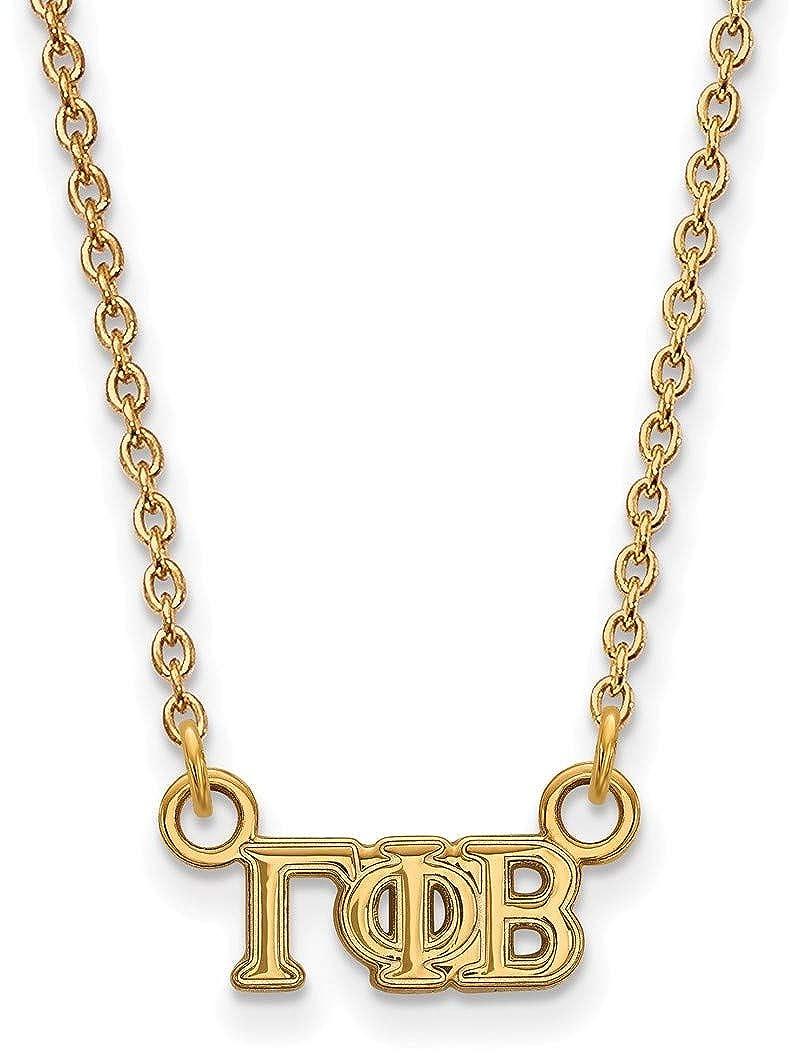 18 Gold-Plated 925 Silver Gamma Phi Beta XSmall Pendant Necklace LogoArt GP006GPB18
