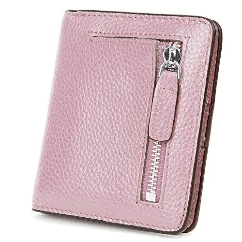 BIG SALE-AINIMOER Women's RFID Blocking Leather Small Compact Bifold Pocket Wallet Ladies Mini Purse with id Window (Light Pink) -