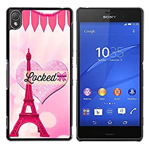 Exotic-Star ( Heart Eifel Tower Pink Love Paris ) Fundas Cover Cubre Hard Case Cover para Sony Xperia Z3 D6603 / D6633 / D6643 / D6653 / D6616