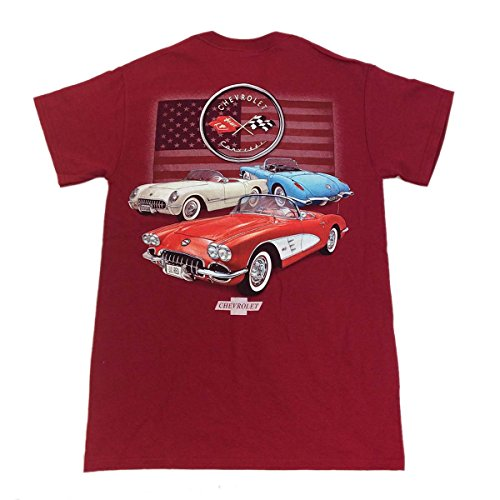 Joe Bloe Tees Mens GM Corvettes with American Flag Short Sleeve T-Shirt-Cardinal-Medium