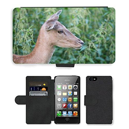 Just Phone Cases PU Leather Flip Custodia Protettiva Case Cover per // M00127434 Cerfs animal Mammifère chef Reindeer // Apple iPhone 4 4S 4G