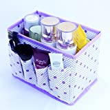 Beety Makeup Cosmetic Dot Storage Box Bag Organiser Foldable Makeup Stationary Container (Purple)