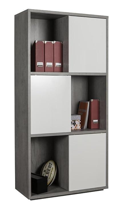 Libreria a sei vani con ante scorrevoli color cemento e bianco ...