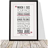 Bruno Mars Just The Way You Are Song Lyrics Framed A4 print And 12x10 Glazed Frame With Mount Gift Valentines Day Anniversary Wedding Design2 by fourleafcloverprint