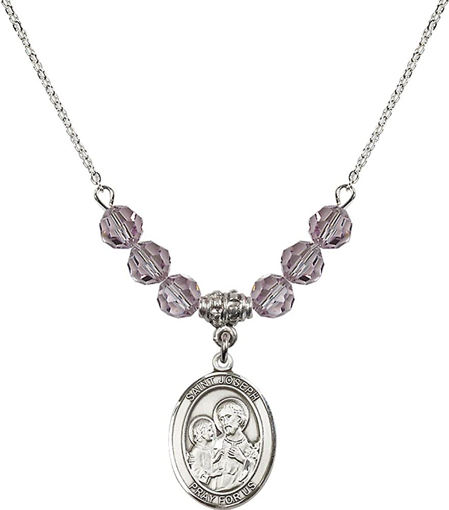 18-Inch Rhodium Plated Necklace with 6mm Light Amethyst Birthstone Beads and Sterling Silver Saint Joseph Charm.