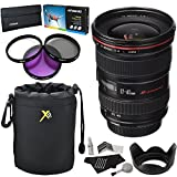 Canon EF 17-40mm f/4L USM Ultra Wide Angle Zoom Lens for Canon SLR Cameras, Polaroid Optics 77mm Filter Set (UV,CPL,FLD), Cleaning Kit, Neoprene Protective Pouch & Accessory Bundle