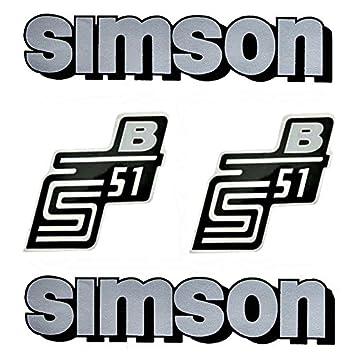 Set Aufkleber Klebefolie Für Simson S51 B Silber Für Tank Und Seitendeckel