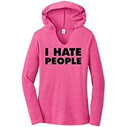 Comical Shirt Ladies I Hate People Funny Antisocial Shirt Fuchsia Frost XS