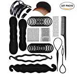 107Pcs Hair Styling Accessories Kit Set DIY Hair Styles Bun Maker Hair Braid Tool Making Black Magic Hair Twist Styling Accessories for Girls or Women