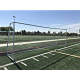 """Pass Premier 21 X 7 FT. Youth Modified FIFA/EPL Steel Soccer Goal. 2"""" Diameter Steel Frame w/Durable 4mm Net, Ground Stakes, Elastic Clasps & Re-Usable Ties. 21x7 Foot (1Net)"""
