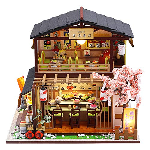 WYD Japanese-Style Japanese-Style Double-Decker Sushi Restaurant Wooden Miniature Doll House DIY Scene Architectural Model Toy Puzzle Fun Parent-Child Gift (Yoshimoto Sushi Restaurant)