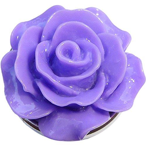 (Enamel Purple Flower Snap Charm (Standard 18mm Size) )