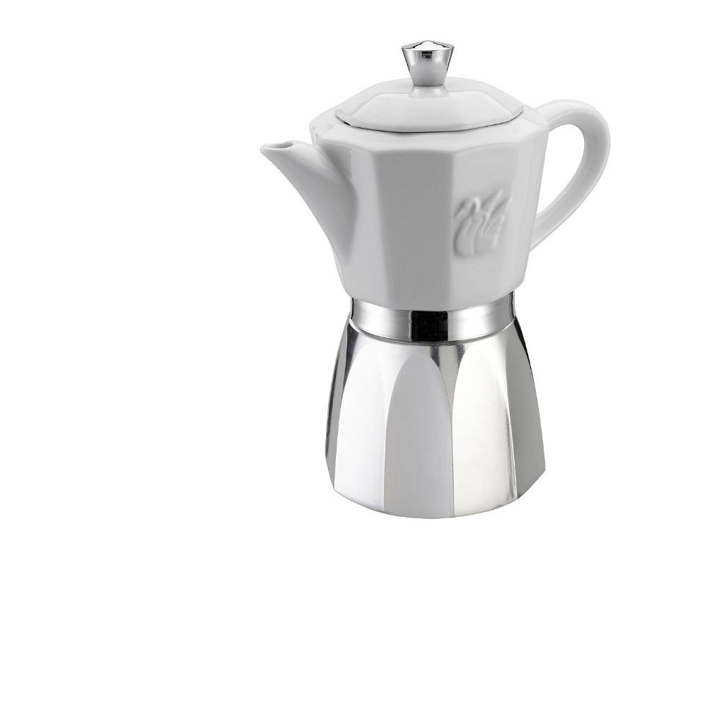 GAT Chic - Stove Top Espresso Coffee Maker - Suitable for Induction - Stainless Steel and Porcelain - 6 Cups