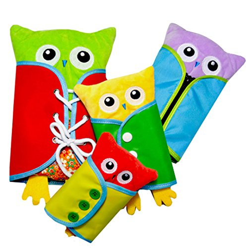 Dreamer Toddlers Early Learning Basic Life Skill Toy Owl Shape Montessori Learn to Dress Plush Dolls Teaching Prop - Zip,Button,Buckle,Lace
