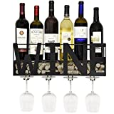 Gift Boutique Black Metal Wall Mounted Wine Rack and Glass Holder with Cork Storage Decorative Kitchen Hanging Shelf Bottle Glasses Bar Stemware Display for Living Room Decor Accessories