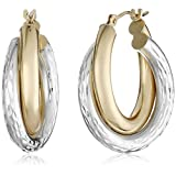 14k Gold-Bonded Sterling Silver Two-Tone Hoop Earrings
