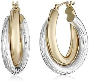 14k Gold-Bonded Sterling Silver Two-Tone Hoop Earrings