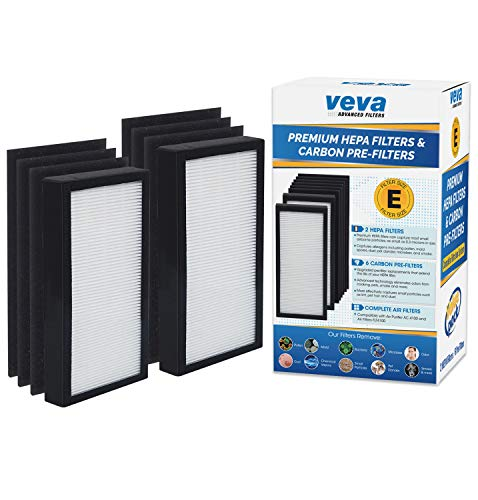 VEVA Premium 2 HEPA Filters and 6 Pack of Pre-Filters Compatible with Air Purifier Models AC4100 and Replacement FLT4100 Filter E