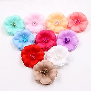 Artificial Flowers Flower Heads in Bulk Wholesale for Crafts Silk Stamens Silk Plum Blossom Wedding Dress Fake Flowers Head DIY Home Shoes and Apparel Decoration Party Decor 30pcs 5.5 cm 32