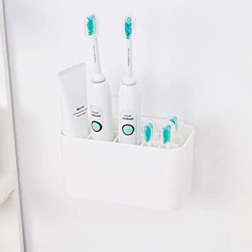 Fantes Toothbrush Holder for Electric Toothbrushes, Wall Mounted Detachable Toothpaste Caddy Bathroom Storage Organizer