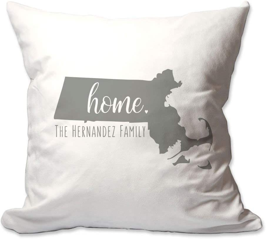 Pattern Pop Personalized State of Massachusetts Home Throw Pillow Cover - 17X17 Throw Pillow Cover (NO Insert) - Decorative Throw Pillow Cover - Soft Polyester