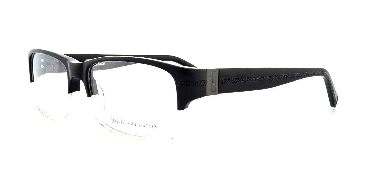 0c745b5a0b1 Amazon.com  JOHN VARVATOS V339 BLACK CLEAR LENS   BLACK Eyeglasses  Clothing