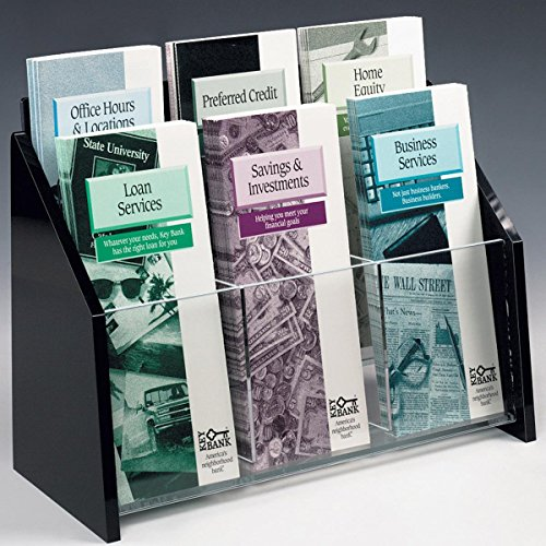 Leaflet 9 Designs (Displays2go 2-Tiered Brochure Holder with 6 Pockets, Fits 4 x 9 Pamphlets, Acrylic (TRS6))
