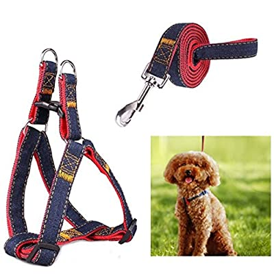 Dog Leash Harness, eFlyer No-Pull Leash Set, Adjustable Heavy Duty Denim Dog Leash Collar for Training Walking Leash Collar