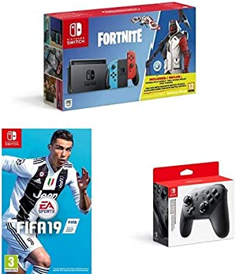 Nintendo Switch Neon Red/Blue Fortnite edition with Fifa 19 (cartridge) and pro-controller [Importación inglesa]: Amazon.es: Videojuegos