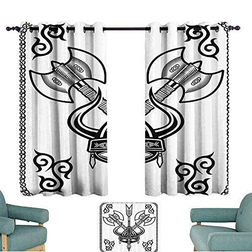 (DILITECK Windshield Curtain Viking Horns Arrow and Axe Antique Celtic Style Medieval Art Monochrome Antique Motifs Noise Reducing Curtain W84 xL72 Black White)