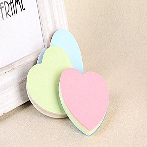 Kentop Marque-pages Feuillets autocollants Notes collantes en Papier Notes Memo Scratch Mignonne forme de coeur Note 1PCS