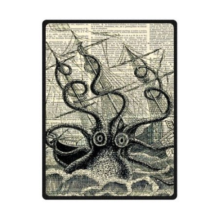 1.3 ft x 2 ft = 2.6 square ft Yoga Mat Doormat Waterproof Plush Living Room Bedroom Kitchen Indoor Outdoor Nautical Vintage Sailing Pirate Octopus