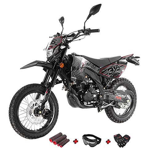 X-Pro 250cc Dirt Bike Pit Bike Gas Dirt Bikes Adult Dirt Pitbike 250cc Deluxe DOT Street Legal Dirt Pit Bike with Gloves, Goggle and Handgrip (Green)