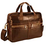 Leather Briefcase Laptop Bag Messenger Shoulder Work Bag Crossbody Handbag for Business Travelling (BFZ-LBROWN)