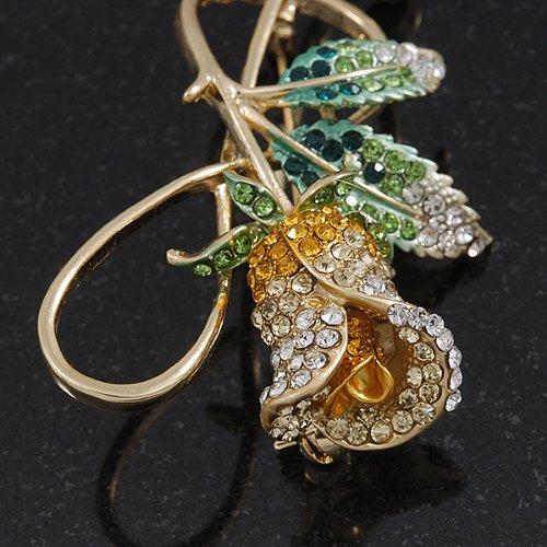 Grande broche rose cristal Swarovski et clef de sol plaqué or