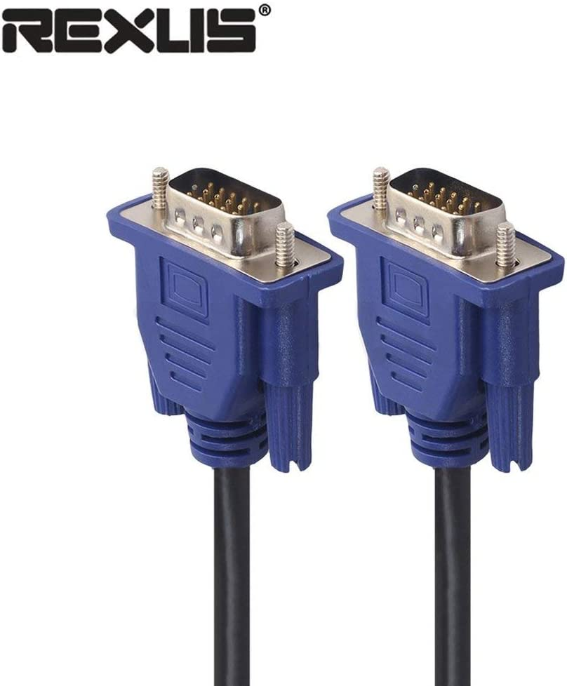 REXLIS VGA Cable HD 15 Pin Male to Male VGA Extension Cable for PC Projector Black/&Blue 1.5M